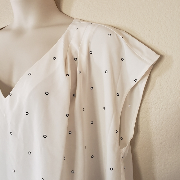 The Outfitters by Lands' End Blouse Top Polka Dot